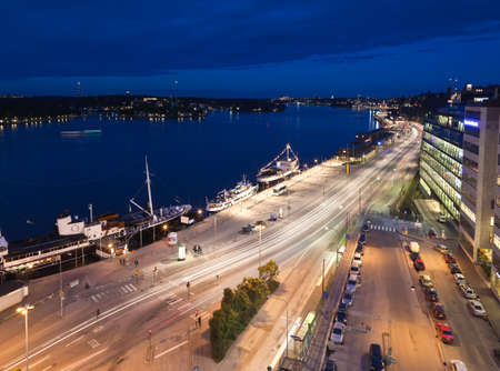katarina: Night scene of the Stockholm City at top of Katarina elevator Stock Photo