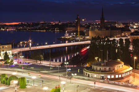 katarina: Night scene of the Stockholm City at top of Katarina elevator Stock Photo