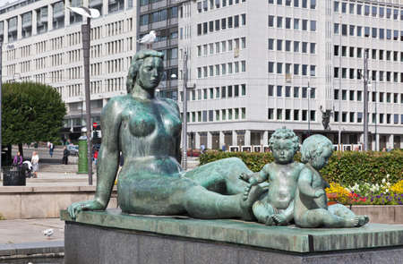 The sculpturre in front of Oslo City Hall in central Oslo Norway