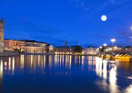 Night scene of the Stockholm City Sweden photo