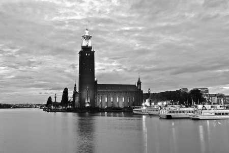 Stockholms stadshus in der Nacht, Stockholm Schweden Standard-Bild - 7808309