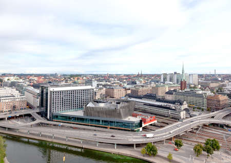 Aerial view of the Stockholm Central Train Station form top of City Hall tower photo