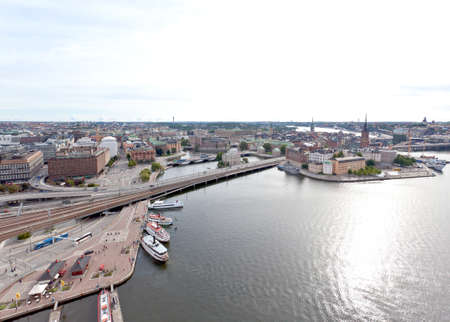 Aerial view of the old town Stockholm Sweden form top of City Hall tower photo