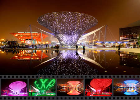 futuristic city: SHANGHAI - JUNE 10: The Axis of the Expo at the largest World Expo on June 10, 2010 in Shanghai China.