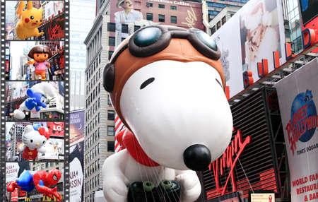 MANHATTAN - NOVEMBER 26 : A cartoon character balloon passing Times Square at the Macys Thanksgiving Day Parade November 26, 2009 in Manhattan.