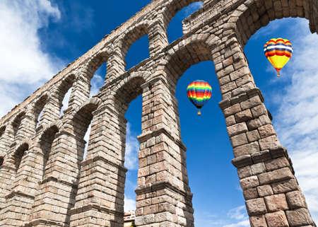 segovia: The famous ancient aqueduct in Segovia Spain Stock Photo