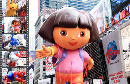 dora: MANHATTAN - NOVEMBER 26 : A Dora the Explorer balloon passing Times Square at the Macys Thanksgiving Day Parade November 26, 2009 in Manhattan.