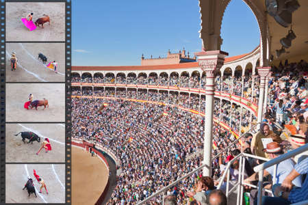 plaza de toros: Madrid - OCTOBER 1: The huge crowd jammed in the famous Plaza de Toros are watching the bullfight on OCTOBER 1, 2010 in Madrid. Spain.