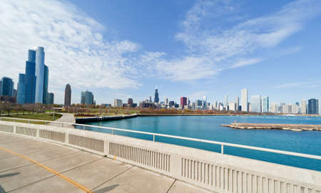 The Chicago Skyline along the lake shore Stock Photo - 8341628