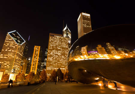 CHICAGO - NOV 15 : Millennium Plaza in Downtown, Chicago Nov 15, 2010.The amazing night view of the light and reflection of Chicago Skyline
