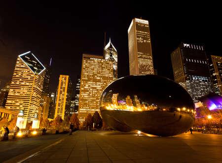 시카고 -11 월 15 일 : 밀레니엄 플라자 다운 타운, 시카고 11 월 15 일 2010.The 놀라운 야경 빛과 반사 시카고 스카이 라인