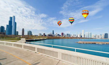 The Chicago Skyline along the lake shore Stock Photo - 8341643