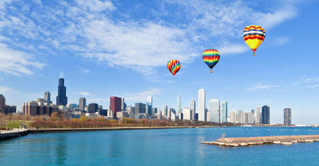 michigan: The Chicago Skyline along the lake shore