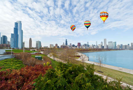 lake district: The Chicago Skyline along the lake shore
