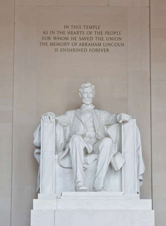 abe: Abraham Lincoln statue in the Lincoln Memorial in Washington DC