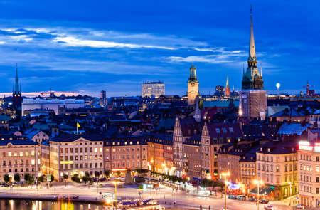 Night scene of the Stockholm City at top of Katarina elevator photo