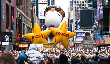 macys: MANHATTAN - NOVEMBER 25 : cartoon character balloon passing Times Square at the Macys Thanksgiving Day Parade November 25, 2010 in Manhattan. Editorial