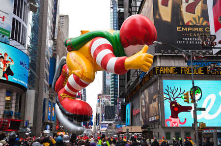 macys: MANHATTAN - NOVEMBER 25 : Mcdonalds character balloon passing Times Square at the Macys Thanksgiving Day Parade November 25, 2010 in Manhattan.