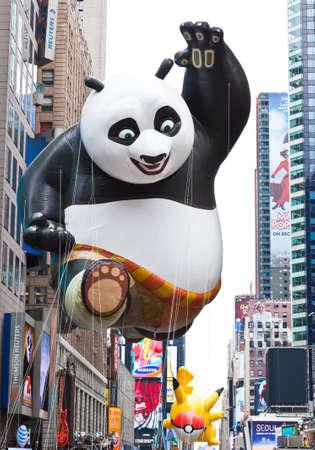 MANHATTAN - NOVEMBER 25 : Gong Fu Panda cartoon character balloon passing Times Square at the Macys Thanksgiving Day Parade November 25, 2010 in Manhattan.