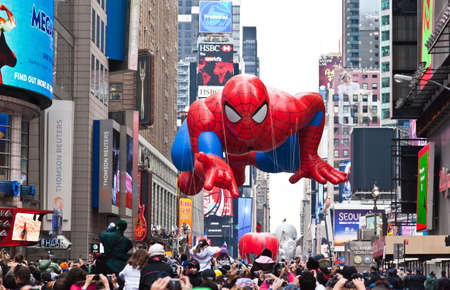 MANHATTAN - NOVEMBER 25 : Spider Man character balloon passing Times Square at the Macy's Thanksgiving Day Parade November 25, 2010 in Manhattan.