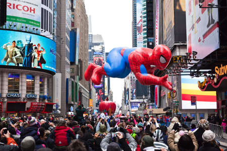 MANHATTAN - NOVEMBER 25 : Spider Man character balloon passing Times Square at the Macy's Thanksgiving Day Parade November 25, 2010 in Manhattan. Stock Photo - 9205219