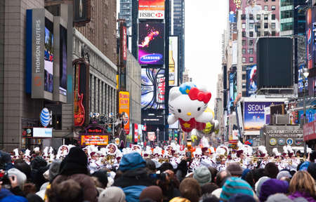 MANHATTAN - NOVEMBER 25 : Hello Kitty character balloon passing Times Square at the Macys Thanksgiving Day Parade November 25, 2010 in Manhattan.