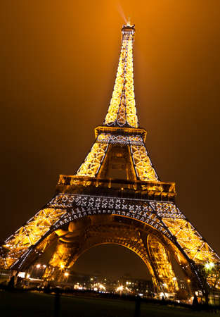 PARIS, FRANCE - DECEMBER 2: Ceremonial lighting of the Eiffel tower on  DECEMBER 2, 2010 in Paris, France. The Eiffel tower is the most visited monument of France. Publikacyjne