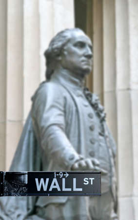 Wall Street with George Washington statue in Manhattan Finance district Stock Photo - 9255610