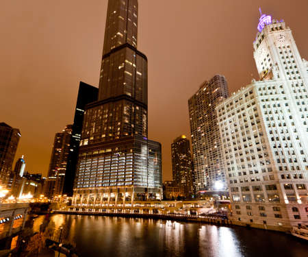 The high-rise buildings along Chicago River at Night Stock Photo