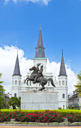 Saint Louis Cathedral and statue of Andrew Jackson in the Jackson Square New Orleans  photo