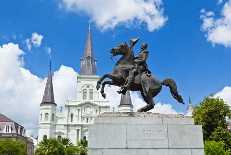 louisiana state: Saint Louis Cathedral and statue of Andrew Jackson in the Jackson Square New Orleans