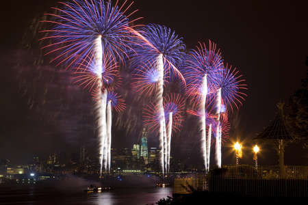 The July 4th firework over Hudson River in New York City Editorial