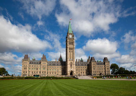 neo gothic: The famous Parliament Buildings in Ottawa, Canada Editorial