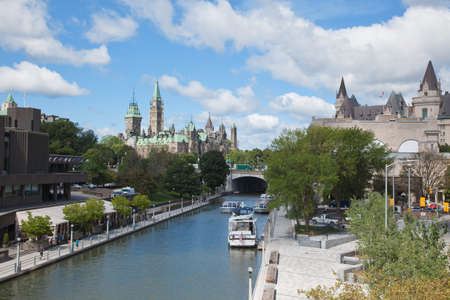 rideau canal: The Parliament building of Canada and Rideau Canal