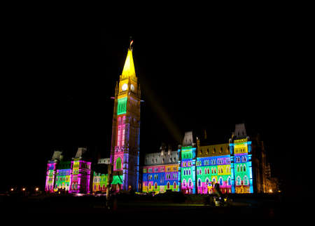 Summer night light show on the Canadian House of Parliament, Ottawa, Canada