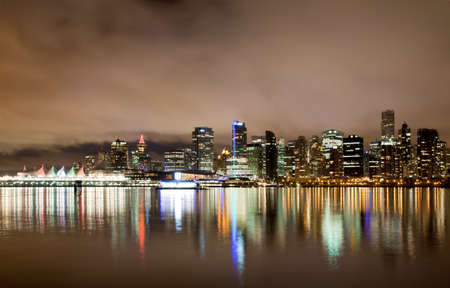 nightscene: The Vancouver downtown skyline at night, Canada BC