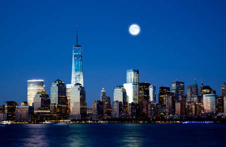 freedom tower: The new Freedom Tower and Lower Manhattan Skyline At Night