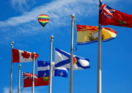 The Canada and its provincial flags in Ottawa photo