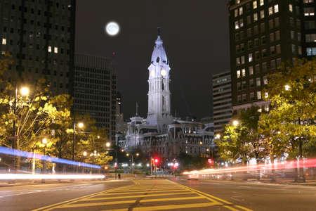 benjamin franklin: Philadelphia City Hall building at night Stock Photo