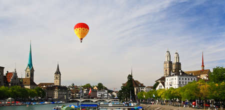 grossmunster cathedral: The major landmarks of Zurich cityscape Switzerland