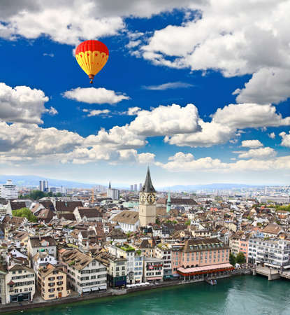 grossmunster cathedral: the aerial view of Zurich City Switzerland