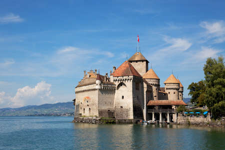 chillon: The Chillon Castle at Lake Geneva Editorial