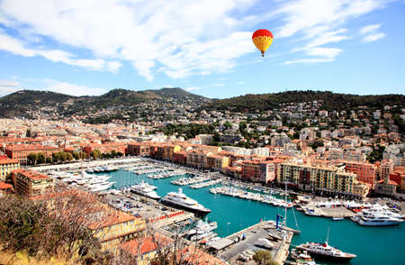 nice weather: aerial view of the city of Nice and the harbor