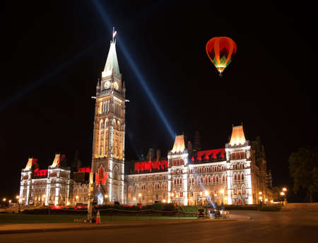 OTTAWA, CANADA AUGUEST 22   The beautiful light show projected on the parliament building to celebrate the Canadas history and people in the summer night of August 22, 2011 in Ottawa, Canada