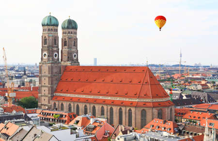 cultural history: The aerial view of Munich city center from the tower of the Peterskirche