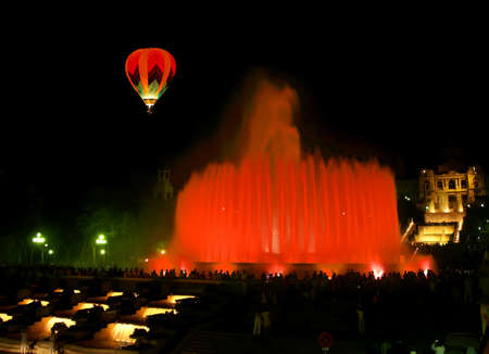 colourfully: Montjuic  magic  fountain in central Barcelona Spain