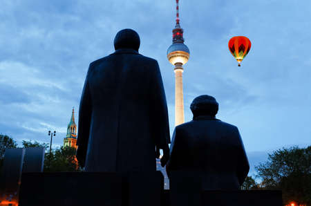 marx: Marx Engels Forum with the TV tower at night in Berlin, Germany Stock Photo