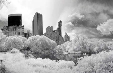 Panorama infrared image of the Central Park in Manhattan