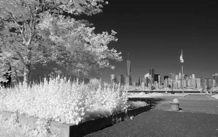 Infrared image of the Lower Manhattan from the Liberty Park in NJ Stock fotó - 30574783