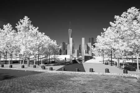 Infrared image of the Lower Manhattan and 911 Memorial in the Liberty Park in NJ